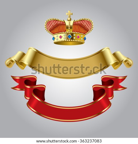 Royal crown with gold and red ribbons isolated on white background. Vector illustration - stock vector