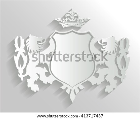 Royal 3D crest with shadows. Two lions and wings, crown and badge, illustration isolated on white - stock vector