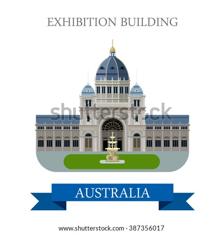 Royal Exhibition building Melbourne Australia. Flat cartoon style historic sight showplace attraction web vector illustration. World countries cities vacation travel sightseeing Australian collection - stock vector