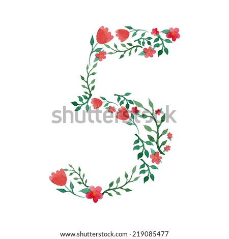 Royal floral number 5 hand drawn with watercolor - stock vector