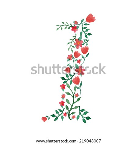 Royal floral number 1 painted with watercolor - stock vector