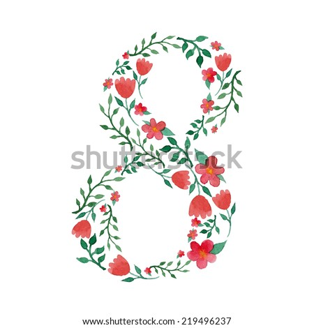 Royal floral number 8 painted with watercolor - stock vector