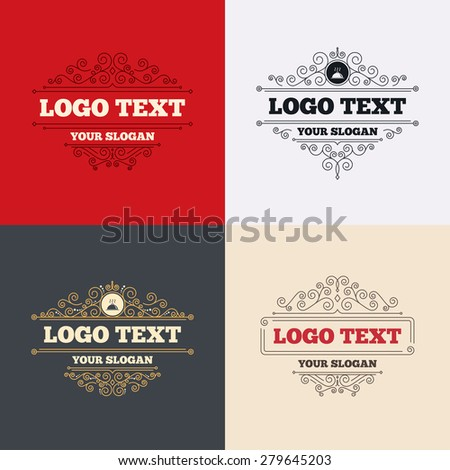 Royal flourishes calligraphic. Food platter serving sign icon. Table setting in restaurant symbol. Hot warm meal. Luxury ornament lines. Vector - stock vector