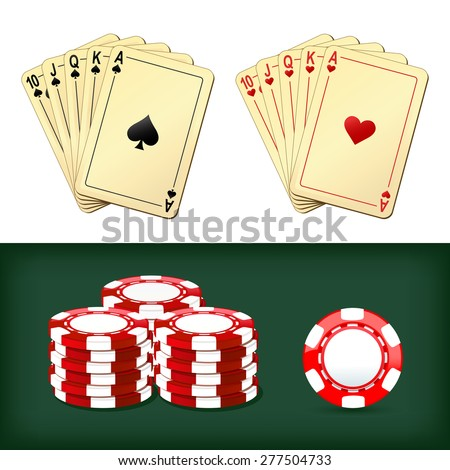 royal flush playing cards and chips casino - stock vector