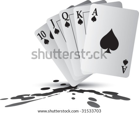 royal flush playing cards on splat - stock vector
