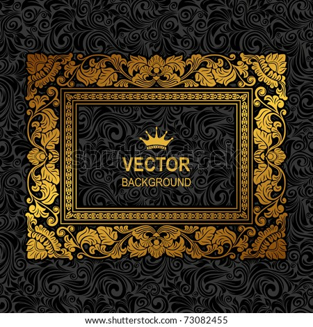 Royal gold Picture frame on the dark wallpaper - stock vector