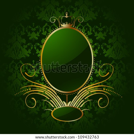 Royal green background with golden frame. Vector - stock vector