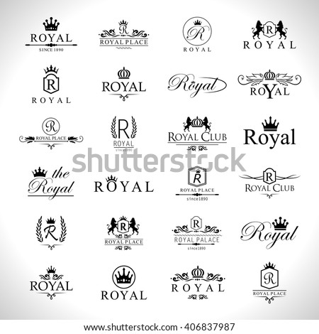 Royal Icons Set-Isolated On Gray Background-Vector Illustration,Graphic Design. Collection Of Royal Icons.Modern Concept, Royal Logotype - stock vector