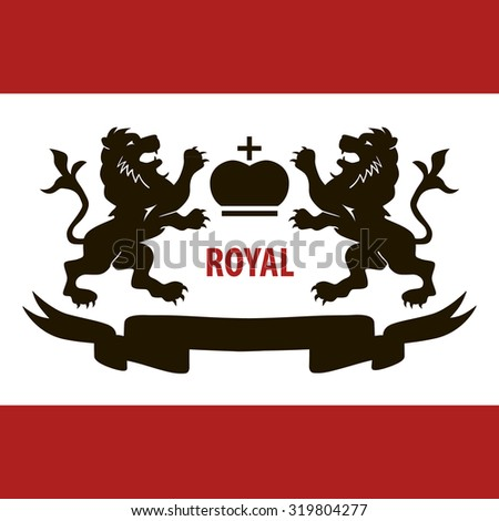 Royal illustration with two lions and crown concept poster art - stock vector