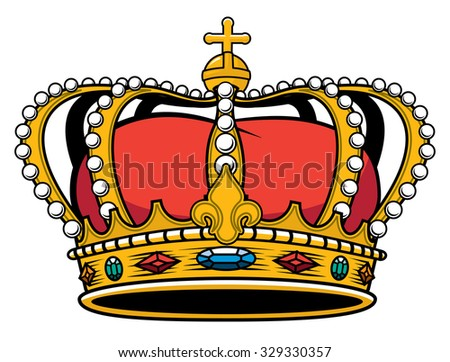 Royal Kings jeweled Gold encrusted medieval crown - stock vector