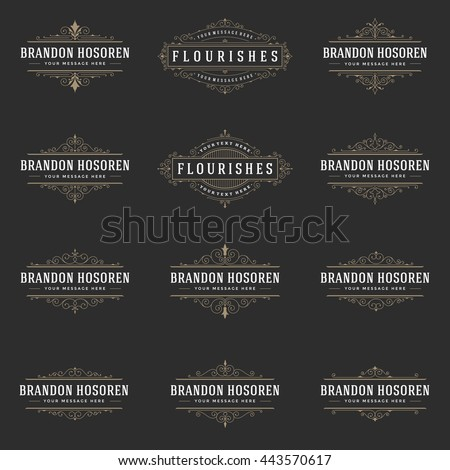 Royal Logos Design Templates Set, Flourish Calligraphic Elegant Ornament lines. Good for Luxury Labels, Crest Signs, Boutique Signs and Monograms. - stock vector