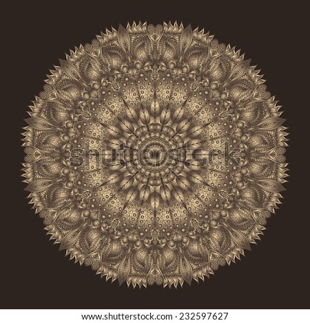 Royal mandala in noble brown shades. Detailed circular pattern in oriental style. - stock vector