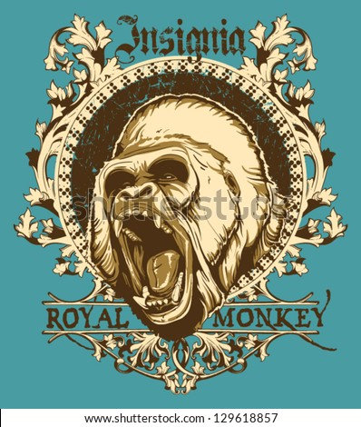 Royal monkey - stock vector