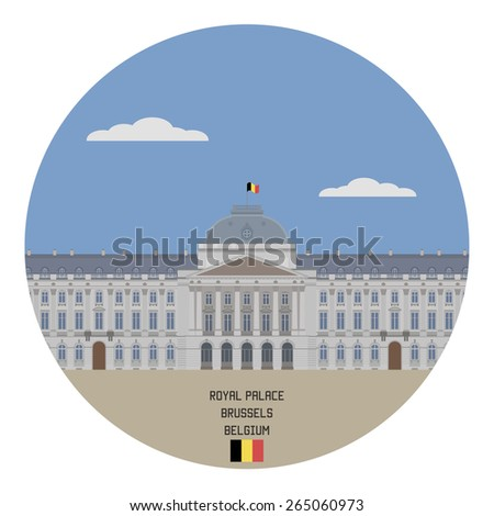 Royal Palace, Brussels. Belgium famous place - stock vector