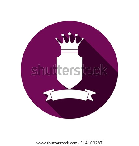 Royal security element, simple shield with crown and ribbon. Heraldic decoration, can be used in advertising and design. - stock vector