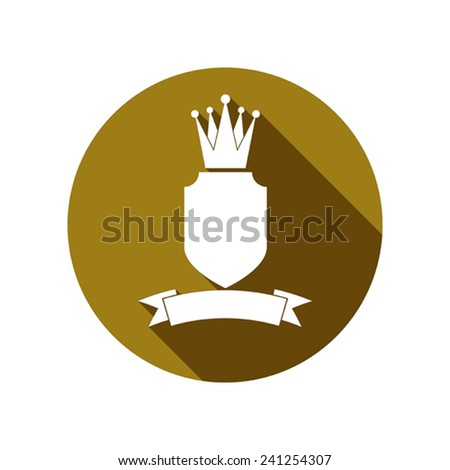Royal security emblem, simple shield with crown and ribbon. Heraldic decoration, can be used in advertising and design. - stock vector