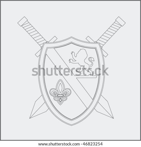 royal shield and swords drawing - stock vector