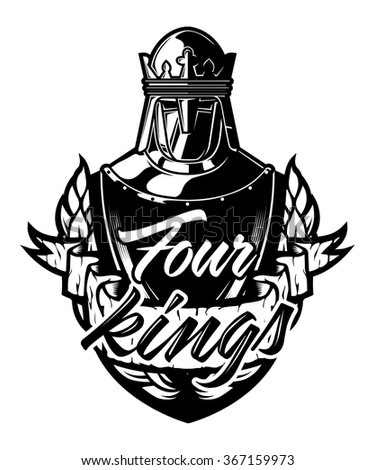 "Royal Shield Crest Knight ""Four Kings"" - stock vector"