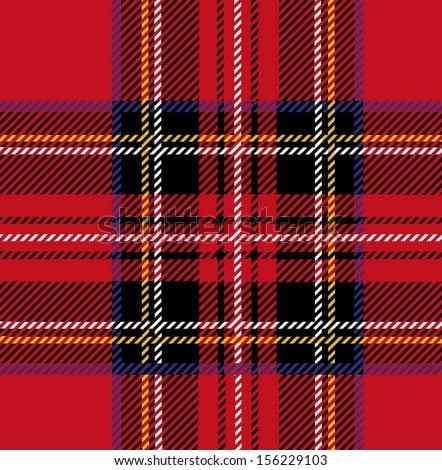 Royal Stewart Tartan Seamless Cloth Pattern - stock vector