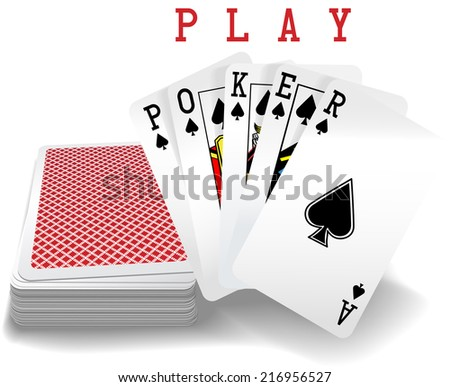 Royal straight flush playing cards deck and spades hand word Poker - stock vector