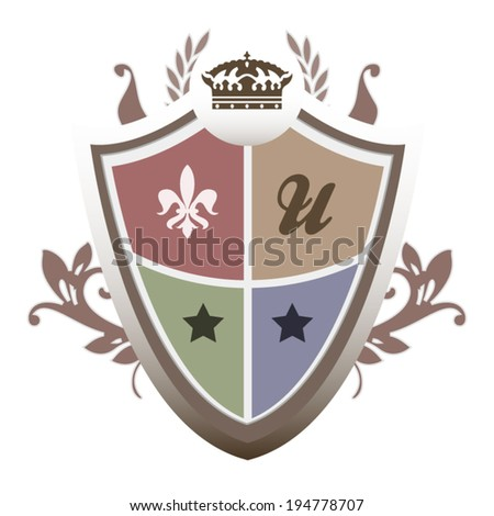 Royal university shield label with concept ornament and design isolated on white background - stock vector