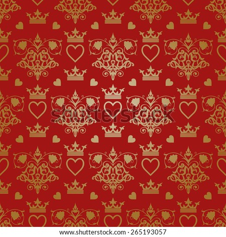 Royal wallpaper background for your design. Red pattern, damask pattern, pattern background, pattern design, pattern vintage, royal pattern, ornate pattern, wallpaper pattern, vector pattern - stock vector