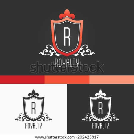 Royalty Crest Ornament Template. Vector Elements. Brand Icon Design Illustration. EPS10 - stock vector