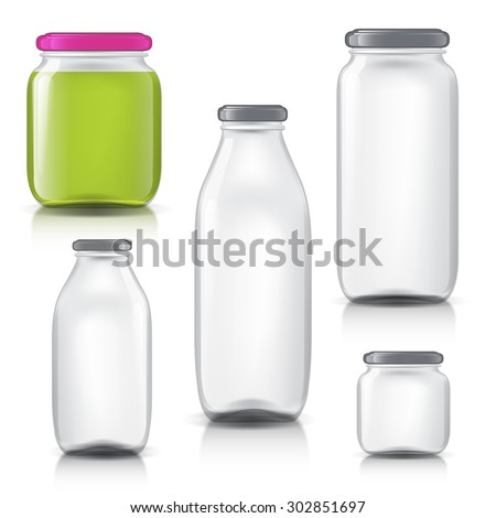 royalty image of glass bottles empty transparent. realistic objects on isolated background. pot for your design.  glass bottles for milk, juice. Isolated objects for your product design.  - stock vector