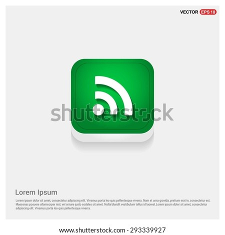 RSS icon - abstract logo type icon - green abstract 3d button with light board and shadow on gray background. Vector illustration - stock vector