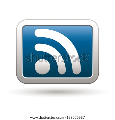 Rss icon on the blue with silver rectangular button. Vector illustration - stock vector