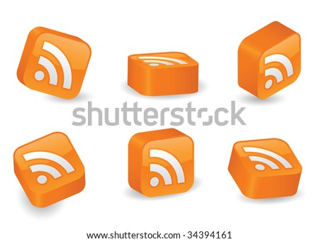 RSS icon on vibrant, glossy, three-dimensional blocks in various positions - stock vector