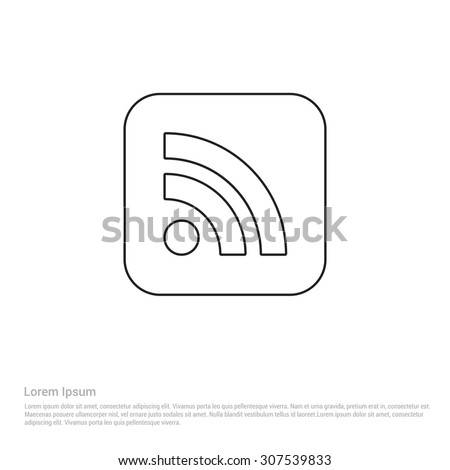 RSS Outline Icon, Vector Illustration, Flat pictogram icon - stock vector
