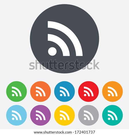 RSS sign icon. RSS feed symbol. Round colourful 11 buttons. Vector - stock vector