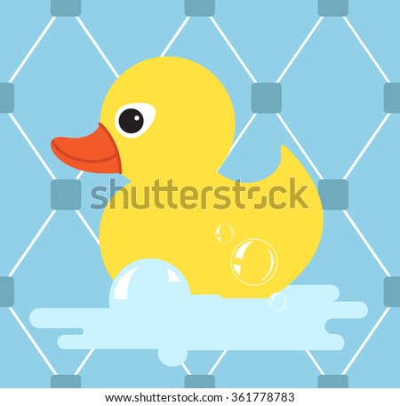 Rubber duck icon.Yellow duck.vector illustration with  seamless pattern - stock vector