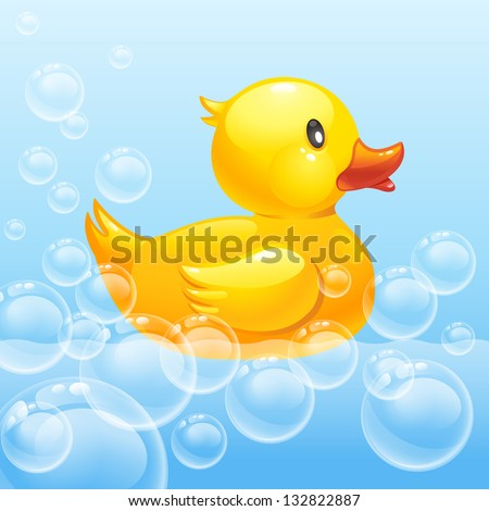 rubber duck in blue water. 10eps - stock vector