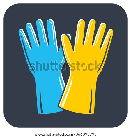 Rubber gloves icon. - stock vector
