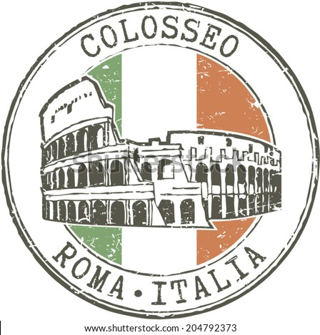 Rubber grunge stamp 'Colosseum-Rome-Italy' and italian flag - stock vector