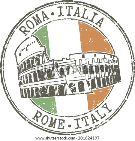 Rubber grunge stamp 'Rome-Italy'. Colosseum and Italian flag - stock vector