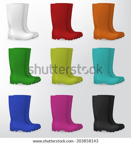 Rubber safety boots in white, red, orange, green, light green, aqua, blue, pink and black. - stock vector