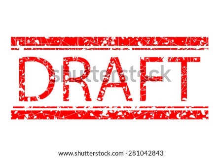 Rubber Stamp - Draft isolated at white  - stock vector