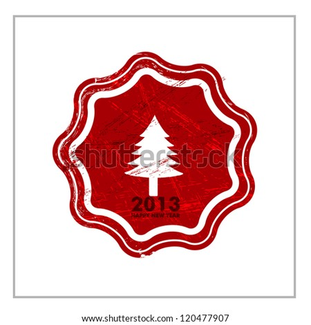Rubber stamp for 2013 Happy New Year. EPS 10. - stock vector