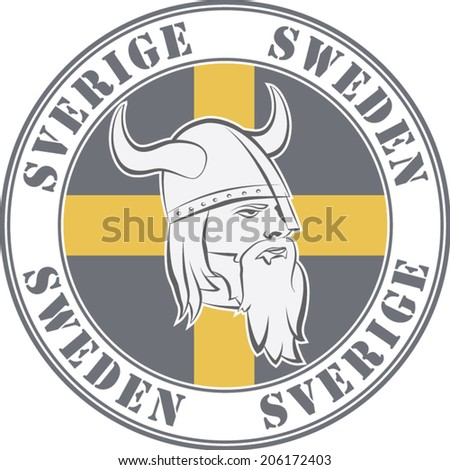 Rubber stamp  'Sweden'. Viking head and swedish flag - stock vector