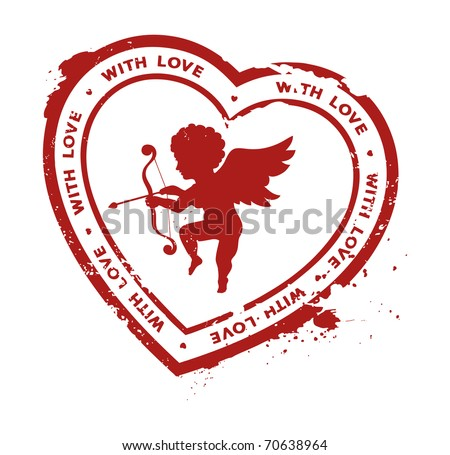 rubber stamp with cupid silhouette - stock vector