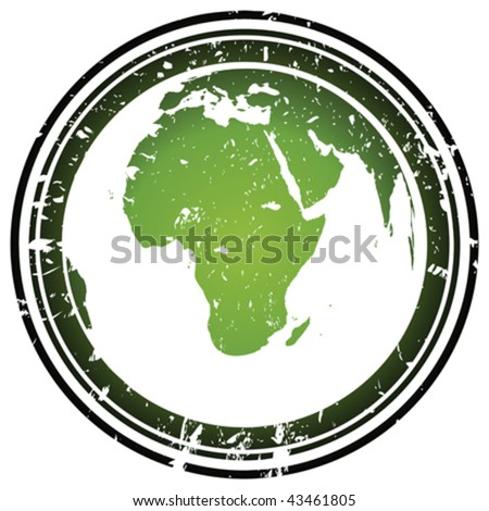 Rubber stamp with Earth globe - stock vector