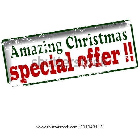 Rubber stamp with text amazing Christmas special offer inside, vector illustration - stock vector