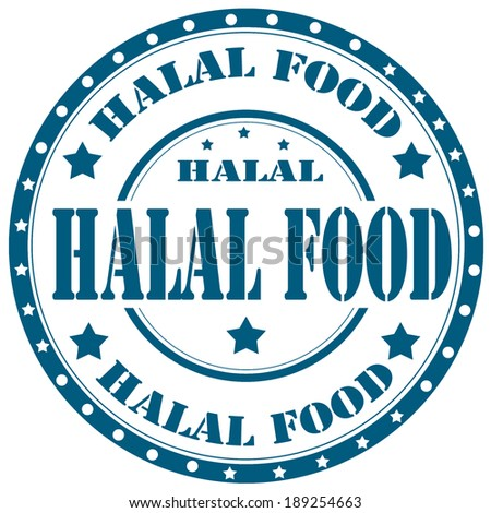 Rubber stamp with text Halal Food,vector illustration - stock vector