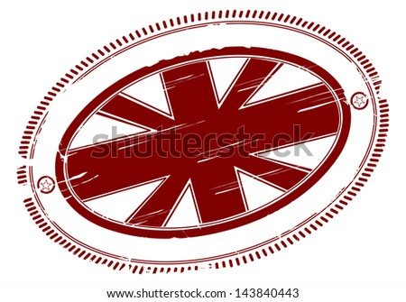 Rubber stamp with the Union Jack. In the center place for any city name or any other name. One color. - stock vector
