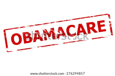 Rubber stamp with word obamacare inside, vector illustration - stock vector