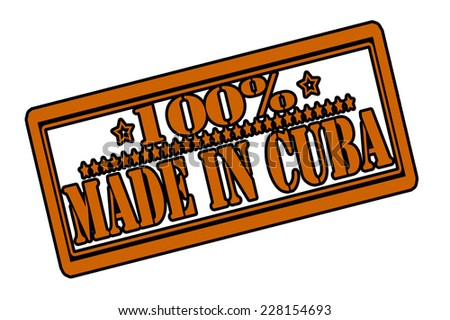Rubber stamps with text one hundred percent made in Cuba inside, vector illustration - stock vector