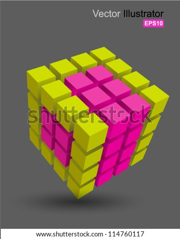 Rubik cube 3D vector, can use for business concept, education , brochure object. - stock vector